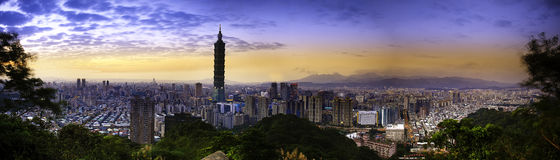 Full view sunset of Taipei city Stock Photos