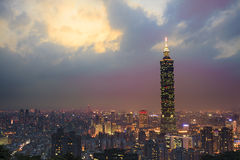 Full view of Taipei, Taiwan evening Stock Image