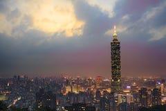 Full view of Taipei, Taiwan evening Stock Image