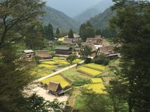 Full view of traditional and historical village and Gassho-Zukuri farm houses in summer royalty free stock photography