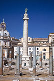 Full view of the Trajan colum in Rome Stock Images