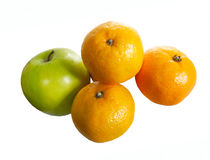 Full of vitamins. Fresh fruit apple and oranges isolated Stock Photography