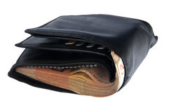 Full wallet. A full wallet with euro bills isolates on white background stock image