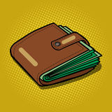 Full wallet with money pop art vector Stock Photos