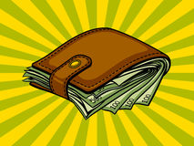Full wallet with money pop art vector Stock Photography