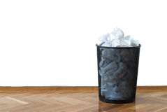 Full wastepaper basket Stock Image
