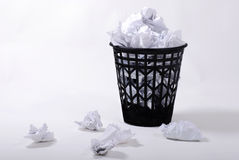 Full wastepaper with crumpled papers Royalty Free Stock Images