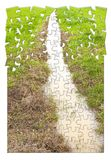 Full water ditch in a field after torrential rain - concept imag. E in puzzle shape Royalty Free Stock Photography