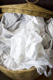 Full of white clothes in basket Stock Image