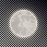 Full white moon isolated. Dark night sky background. Closeup moon light transparent effect. Glow moo Stock Illustration