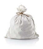 Full white sack tied by rope. On background Stock Image