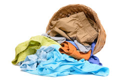 Full wicker laundry basket  isolated Stock Images