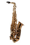 A full wiev of saxaphone. Full saxaphone on the white background Royalty Free Stock Image