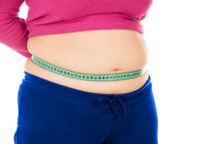 Full woman measures the stomach tape. Isolated on white background Stock Photo