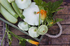 Full wooden box of green courgettes and squashes. On the wooden background Stock Photo