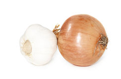 Full yellow onion and garlic Stock Image