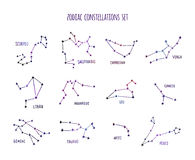 Full zodiac constellation signs set made of stars and lines Stock Image