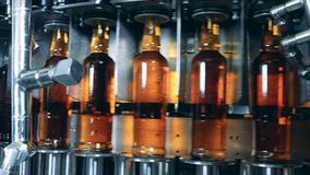 Fulla flaskor med alkohol på en funktionsduglig maskin på en fabrik Whisky kväv, bourbonproduktion lager videofilmer