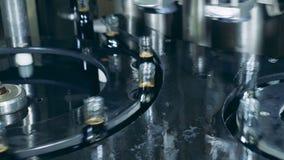 Fulla flaskor som på flyttar en fabrikstransportör, automatisk produktion Produktion av whisky, skotsk whisky, konjak stock video