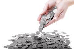 fulla händer en för mynt polerade zloty Royaltyfria Bilder