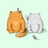 Fulla katter Vektor Illustrationer