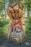 Fullarton Park Troon and the Boy Called Lachlan Carving set within the park stock photos
