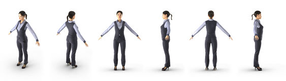 Fullbody asian business woman renders set from different angles on a white. 3D illustration. Fullbody asian business woman renders set from different angles on a Stock Image