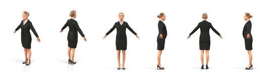 Fullbody business woman renders set from different angles on a white. 3D illustration. Fullbody business woman renders set from different angles on a white Royalty Free Stock Photo