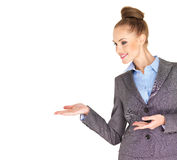 Fullbody business woman smiling isolated Stock Photos