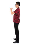 Fullbody Chinese cheongsam male greeting Stock Images