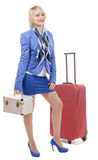 Fullbody flight attendant standing isolated over a white backgro Stock Photography