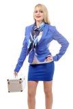 Fullbody flight attendant standing  over a white backgr Stock Image