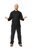Fullbody portrait of Afro American professional cook isolated. Stock Photos