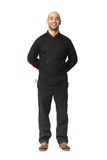 Fullbody portrait of Afro American professional cook isolated. Stock Image