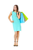 Fullbody portrait of beautiful woman with bags isolated on white Royalty Free Stock Image