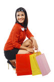 Fullbody Portrait Woman With Shopping Bags Stock Images