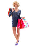 Fullbody shopping woman Stock Photos
