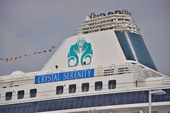 Fullel för Crystal Serenity kryssningskepp och Crystal Cruises logo Royaltyfri Foto