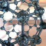 Fullerene με τα άτομα άνθρακα που γίνονται στο γυαλί διανυσματική απεικόνιση