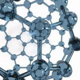 Fullerene avec des atomes de carbone représentés sur le verre Image libre de droits