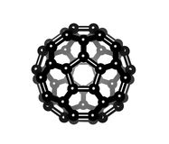 Fullerene. The chemical structure of fullerene molecule Stock Photos