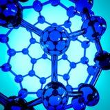 Fullerene composé d'atomes de carbone sur la représentation en verre Photo stock