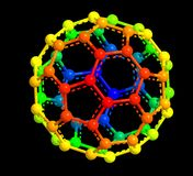 Fullerene molecular structure. Colored 3d model of fullerene molecular structure Royalty Free Stock Photography