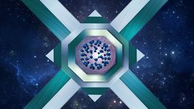 Fullerene molecule in the center of the octagon, cosmic navy blue background. royalty free illustration