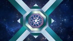 Fullerene molekuła w centrum ośmiobok, pozaziemski marynarki wojennej błękita tło royalty ilustracja