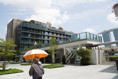 The Fullerton Bay Hotel on the waterfront Marina Bay Stock Photos