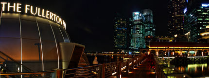 The Fullerton and Clifford Pier Panoramic. Night scenery at The Clifford Pier Singapore Stock Photo