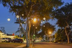 Beautiful Christmas light ball at Fullerton. Fullerton, DEC 8: Beautiful Christmas light ball on DEC 8, 2016 at Fullerton, Los Angeles County, California Stock Photography