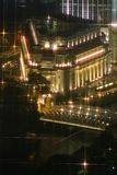 Fullerton Hotel after dusk. Picture taken shortly after dusk of the Fullerton Hotel, a 7 star colonial era refurbished as a hotel in Singapore. Formerly one of royalty free stock photo