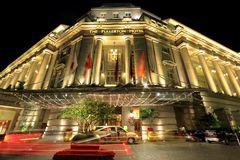 The Fullerton Hotel in the evening, Singapore Royalty Free Stock Photography